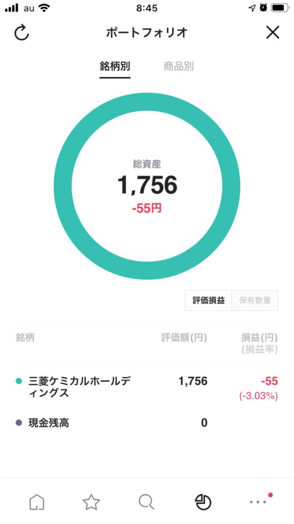LINE証券ポートフォリオ画面