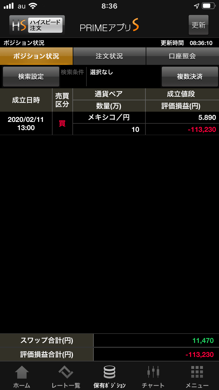 FXプライムポジション状況